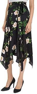The Kooples Floral Print Tie Detail Silk Midi Skirt