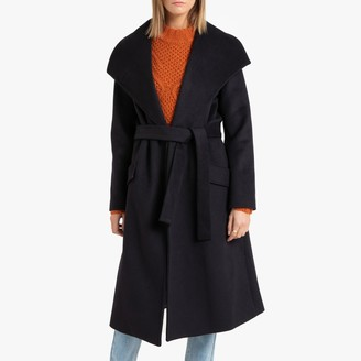 La Redoute Collections Long Single-Breasted Shawl Coat with Belt and Pockets