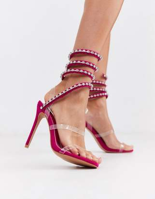 PrettyLittleThing high heeled sandal with diamante ankle wrap straps in pink