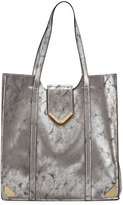 Neiman Marcus Metallic Faux-Leather Tote Bag, Silver