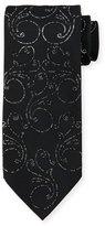 Stefano Ricci Crystal Floral-Print Silk Tie, Black