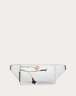 Valentino Garavani Uomo Flowersity Leather Belt Bag Man Optic White 100% Pelle Bovina - Bos Taurus OneSize