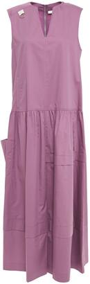 Tibi Ring-detailed Gathered Cotton-poplin Midi Dress