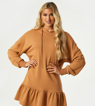 Outrageous Fortune exclusive mini ruffle hem sweat dress with hood in camel