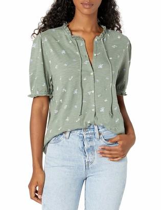 Lucky Brand Women's Short Sleeve High Neck Button Down Top