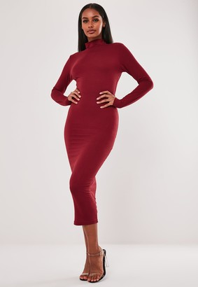 Missguided Red Basic Jersey Roll Neck Midi Dress