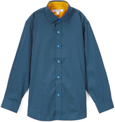 Isaac Mizrahi Blue & Yellow Polka Dot Premium Button-Up - Toddler & Boys