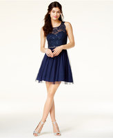 Sequin Hearts Juniors' Illusion Open-Back Fit and Flare Dress