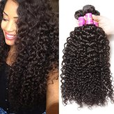 Brazilian Curly Virgin Hair Weave 3 Bundles Unprocessed Human Hair Extensions Natural Color Can Be Dyed and Bleached Tangle Free (8 10 12inches)