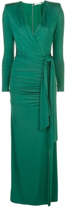 Alice + Olivia Kyra draped V-neck gown