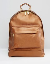 Mi-pac Tumbled Leather Look Backpack In Gold