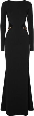 HANEY Embellished Cutout Stretch-cady Gown