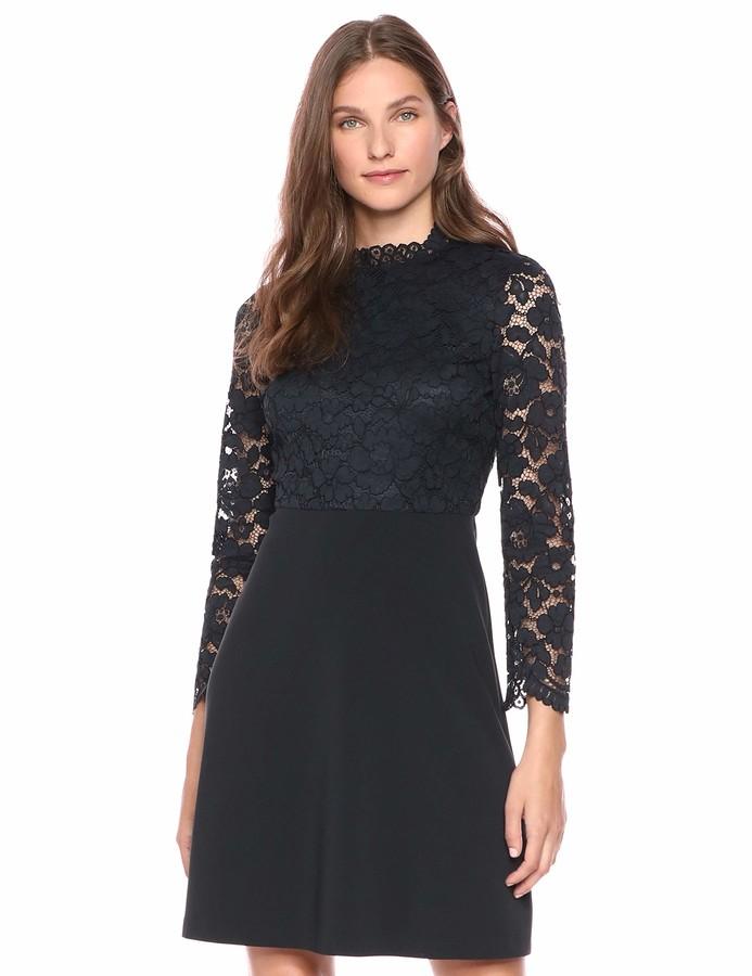 Lark & Ro Amazon Brand Women's Long Sleeve Mixed Lace Dress