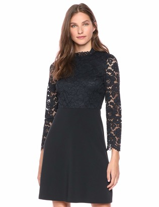 Lark & Ro Long Sleeve Mixed Lace Dress Dark Navy 14