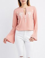 Charlotte Russe Embroidered Keyhole Bell Sleeve Top