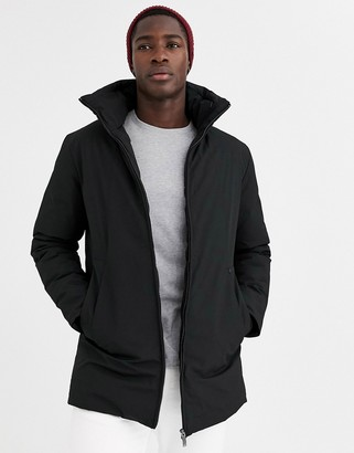 Jack and Jones padded long line jacket with concealed hood in black