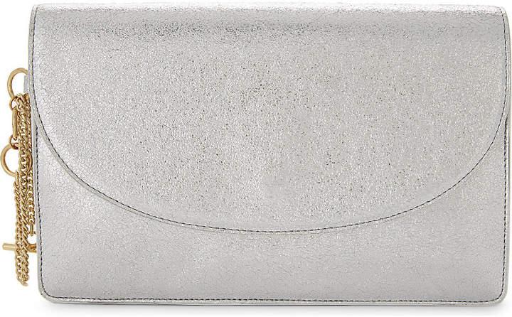 Diane von Furstenberg Saddle metallic leather clutch bag