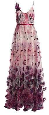 Marchesa Women's Floral Appliqué Ball Gown