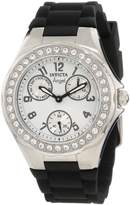 Invicta Women's 1647 Angel Collection Polished Steel Large Crystal Bezel Black Polyurethane Watch