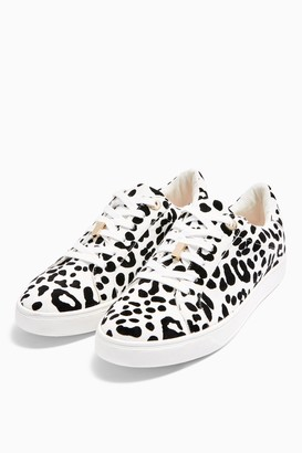 Topshop Womens Cabo Black And White Leopard Lace Up Trainers - Monochrome