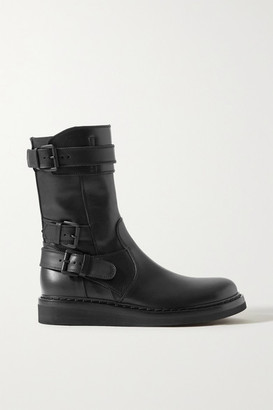 Ann Demeulemeester Buckled Leather Ankle Boots - Black