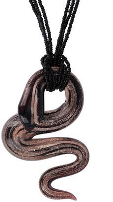 Italian Gold Murano Snake Pendant w/ Bead Chain, 14K