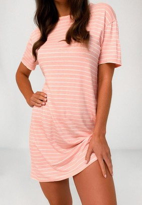 Missguided Blush Stripe Oversized T Shirt Dress