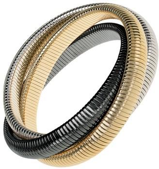 Janis Savitt High Polished Gold, Rhodium and Gunmetal Triple Cobra Bracelet