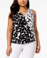 INC International Concepts I.n.c. Plus Size Floral-Print Surplice Tank Top, Created for Macy's