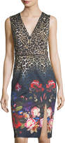 Alberto Makali Leopard and Floral-Print Day Dress