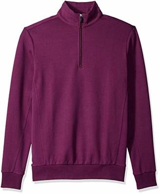 Bugatchi Men's Long Sleeve Classic Fit Half Zip Mock Solid Knit Shirt