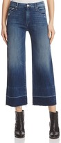 Mother Roller Crop Undone Hem Jeans in Medium Blue
