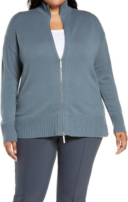 Lafayette 148 New York Stand Collar Cashmere Zip Cardigan