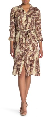 Love Stitch Printed Belted Button Down Dress