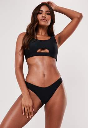 Missguided Black Scoop Neck Cut Out Bikini Top