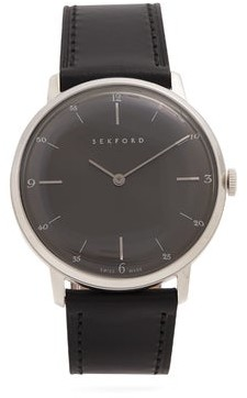 Sekford Watches - Type 1a Stainless-steel And Grained Leather Watch - Mens - Black