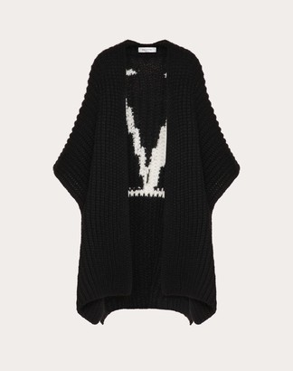 Valentino Vlogo Signature Wool Cardigan Women Black/ivory Virgin Wool 100% L