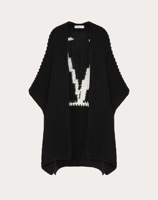Valentino Vlogo Wool Cardigan Women Black/ivory Virgin Wool 100% L