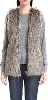 JOLLYCHIC Women's Hip Length Faux Fur Sleeveless Vest Outwear Waistcoat