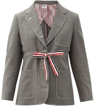 Thom Browne Tricolour-sash Wool-fresco Suit Jacket - Grey