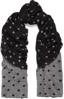 Comme des Garcons Polka-dot Intarsia Knitted Scarf - Black