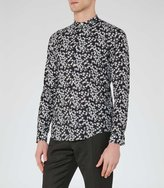 Reiss Reiss Mitzy - Liberty Print Grandad-collar Shirt In Black