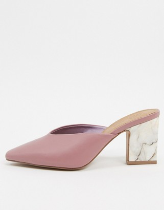 Asos DESIGN Solve mid-heeled mules with marble heel in warm pink