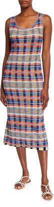M Missoni Plaid Print Mesh Overlay Midi Tank Dress