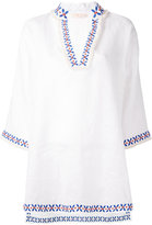 Tory Burch embroidered detail tunic - women - Linen/Flax - M