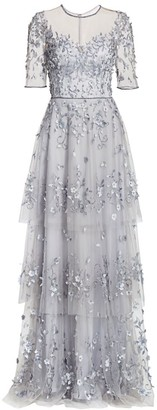 Theia Embellished Tiered Gown