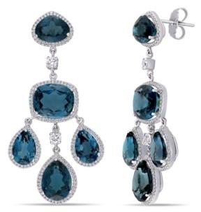 Macy's Blue Topaz (55 ct. t.w.) and Diamond (1 7/8 ct. t.w.) Geometric Dangle Earrings in 18k White Gold