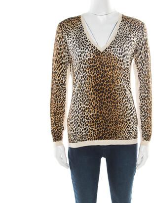 Dolce & Gabbana Multicolor Animal Printed Silk Jersey V-Neck Sweater M