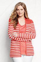 Classic Women's Plus Size Stripe Linen Drape Cardigan Sweater-White/Vibrant Lemon Stripe