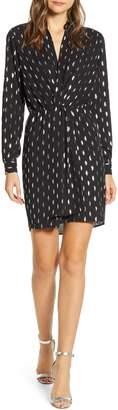 Velvet by Graham & Spencer Foil Print Long Sleeve Surplice Dress